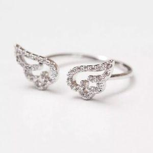 Angel Wings crystal Adjustable ring NEW